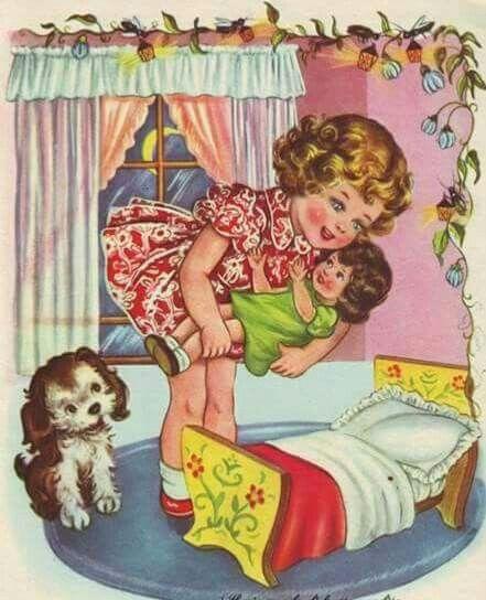 Курбан байрам, винтажные картинки спокойной ночи дети в сорочках