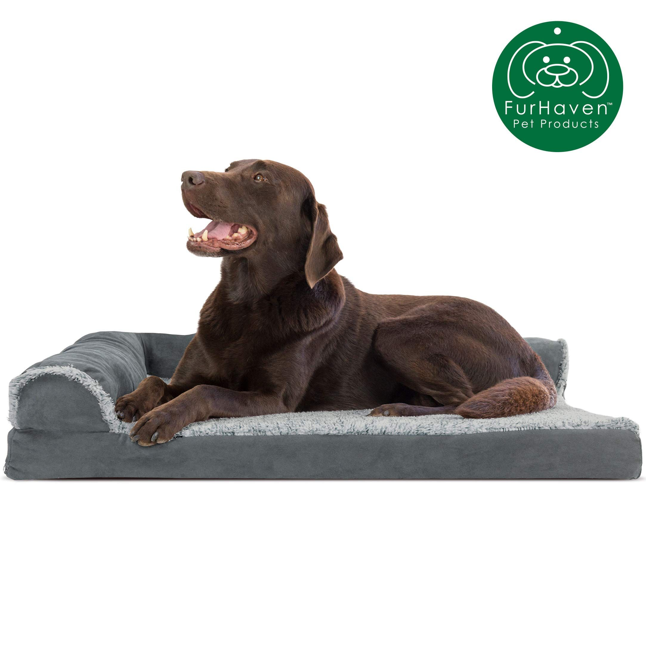 Furhaven Pet Dog Bed Deluxe Orthopedic Goliath Quilted Faux Fur And Velvet L Shaped Chaise Lounge Corner Living Orthopedic Dog Bed Dog Pet Beds Dog Bed Large
