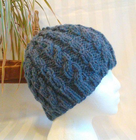 d5ba629f473 Knit Cable Beanie. Beanies for Men or Women. Knit Hat. Medium Blue Heather.  Dark Denim. Optional Crocheted Flower. Mens or Womens Beanie