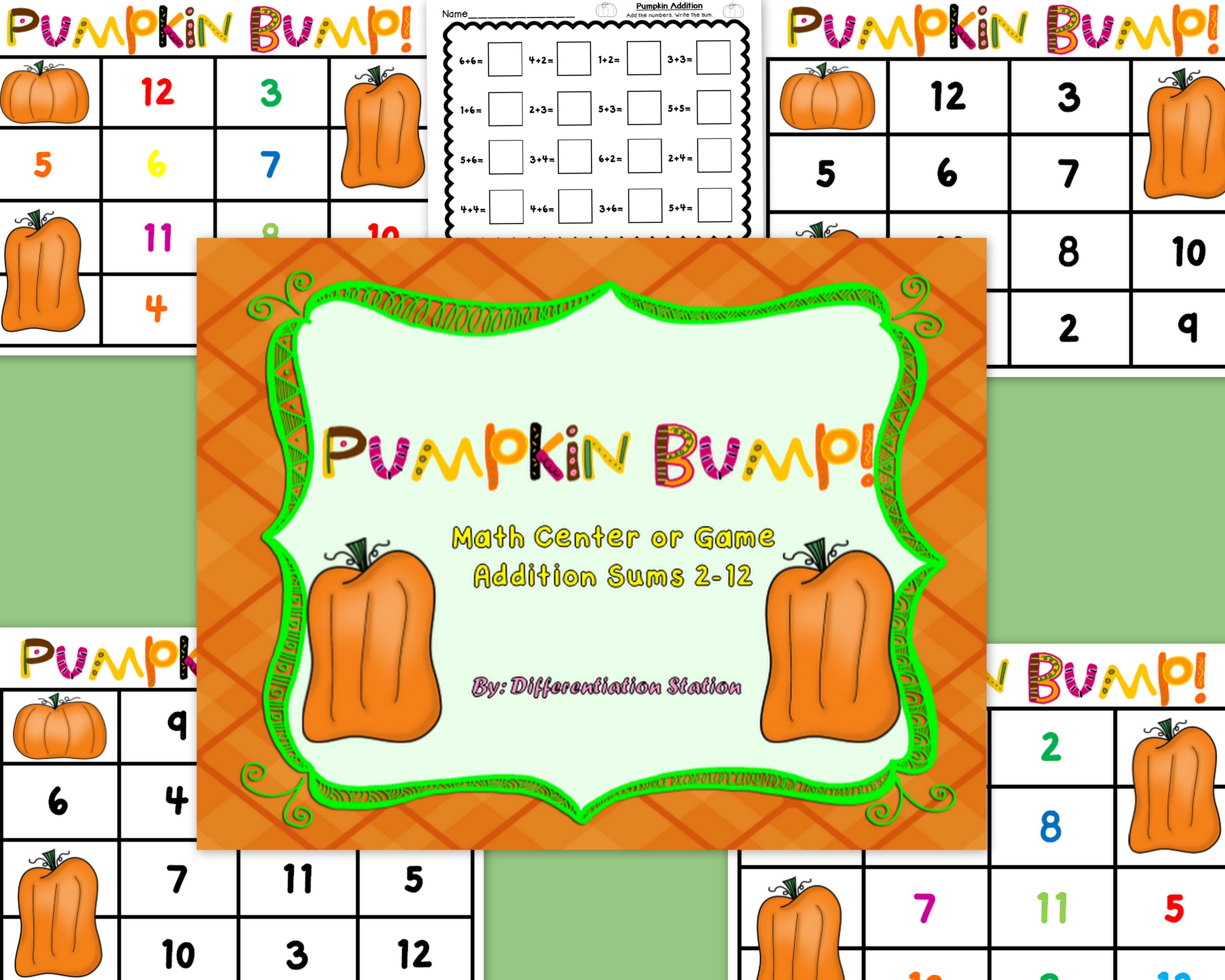 Free Pumpkin Bump Math Center Game And Printable