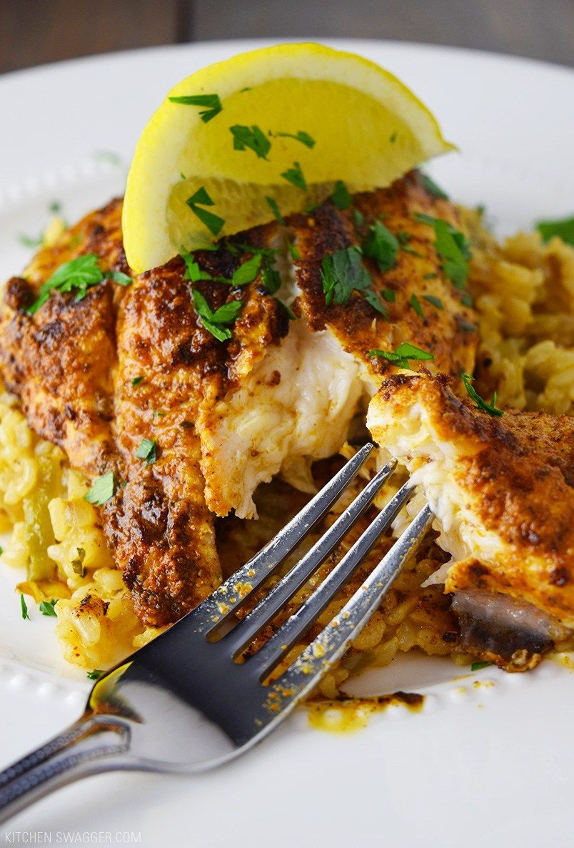 Blackened Catfish over Cajun Rice #cajundishes