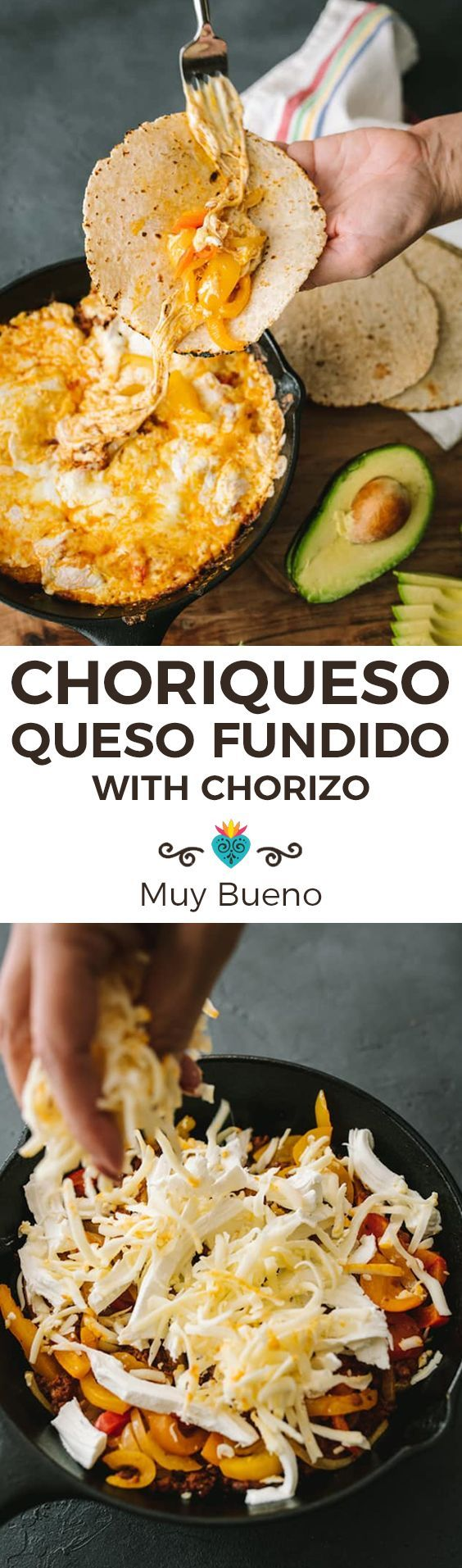 Choriqueso (Queso Fundido with Chorizo) #easymexicanfoodrecipes
