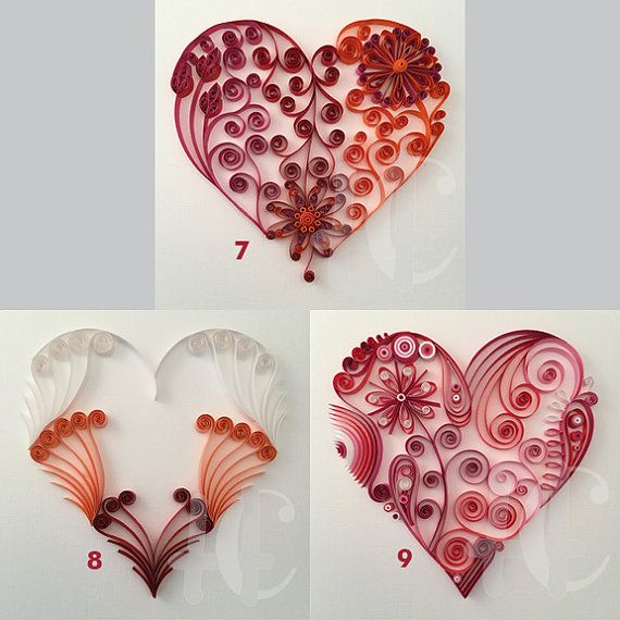 Heart Quilling – Custom Wall Hanging  Individual quilled hearts mounted on 6x6 cardstock. Order your favorite quilled hearts in combinations of 2, 3 or 4. Each heart in your combination will be mounted separately so you may configure and frame your own custom design. Simply select the hearts you like best and include the corresponding numbers in the notes section when placing your order or send me message with the numbers of your selections after you place your order.  Artwork typically takes...