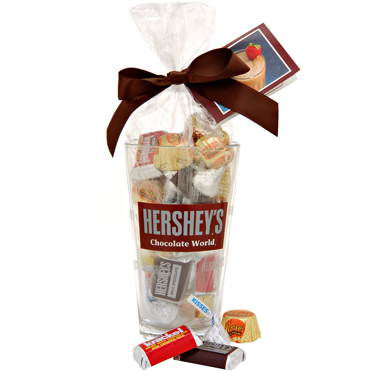 HERSHEY'S Chocolate World Attraction Filled Glass, Filled with yummy HERSHEY'S Assorted Miniatures, REESE'S Peanut Butter Cup Miniatures and HERSHEY'S KISSES Milk Chocolates.