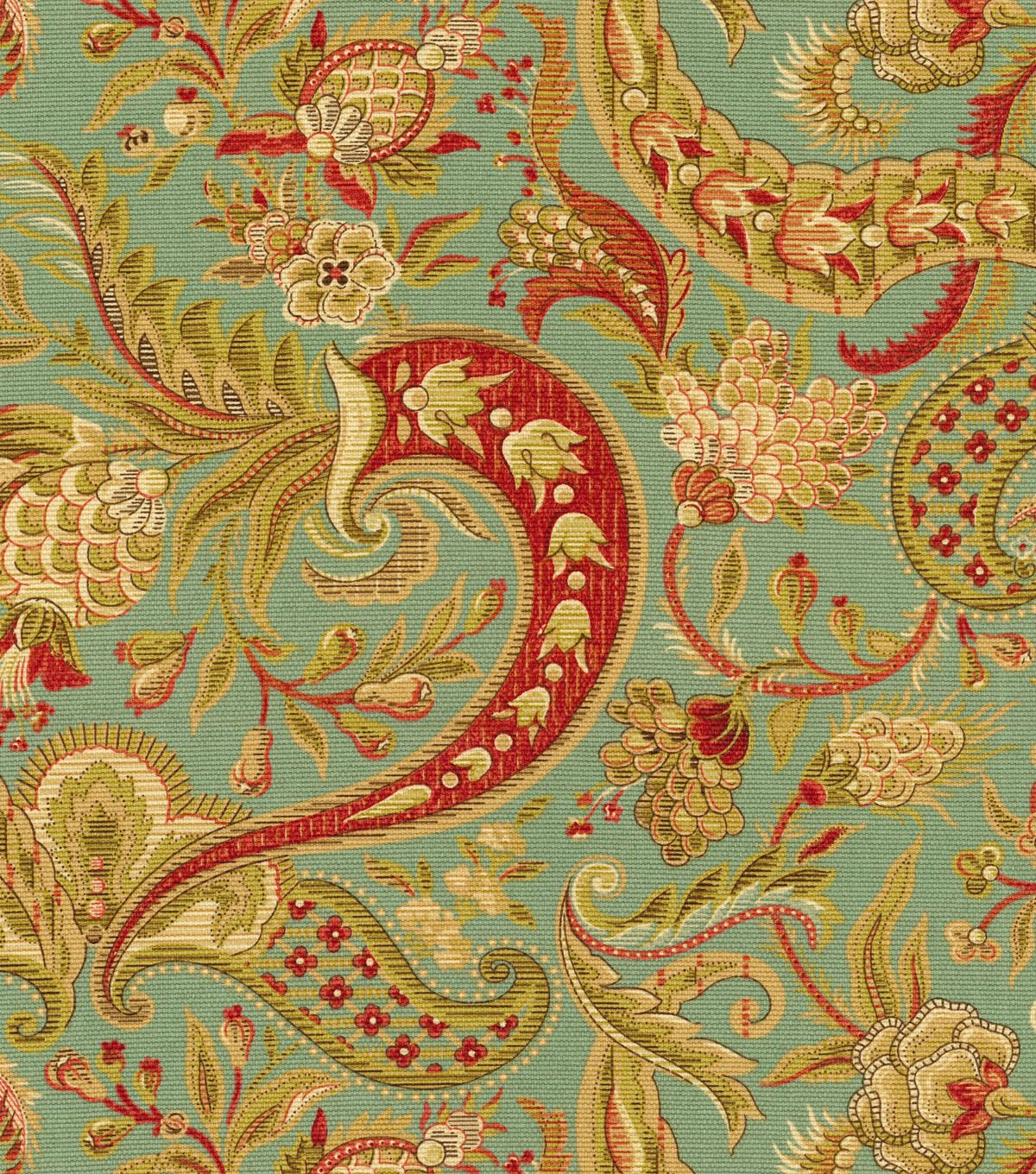 A traditional paisley home décor fabric with elegant color ...