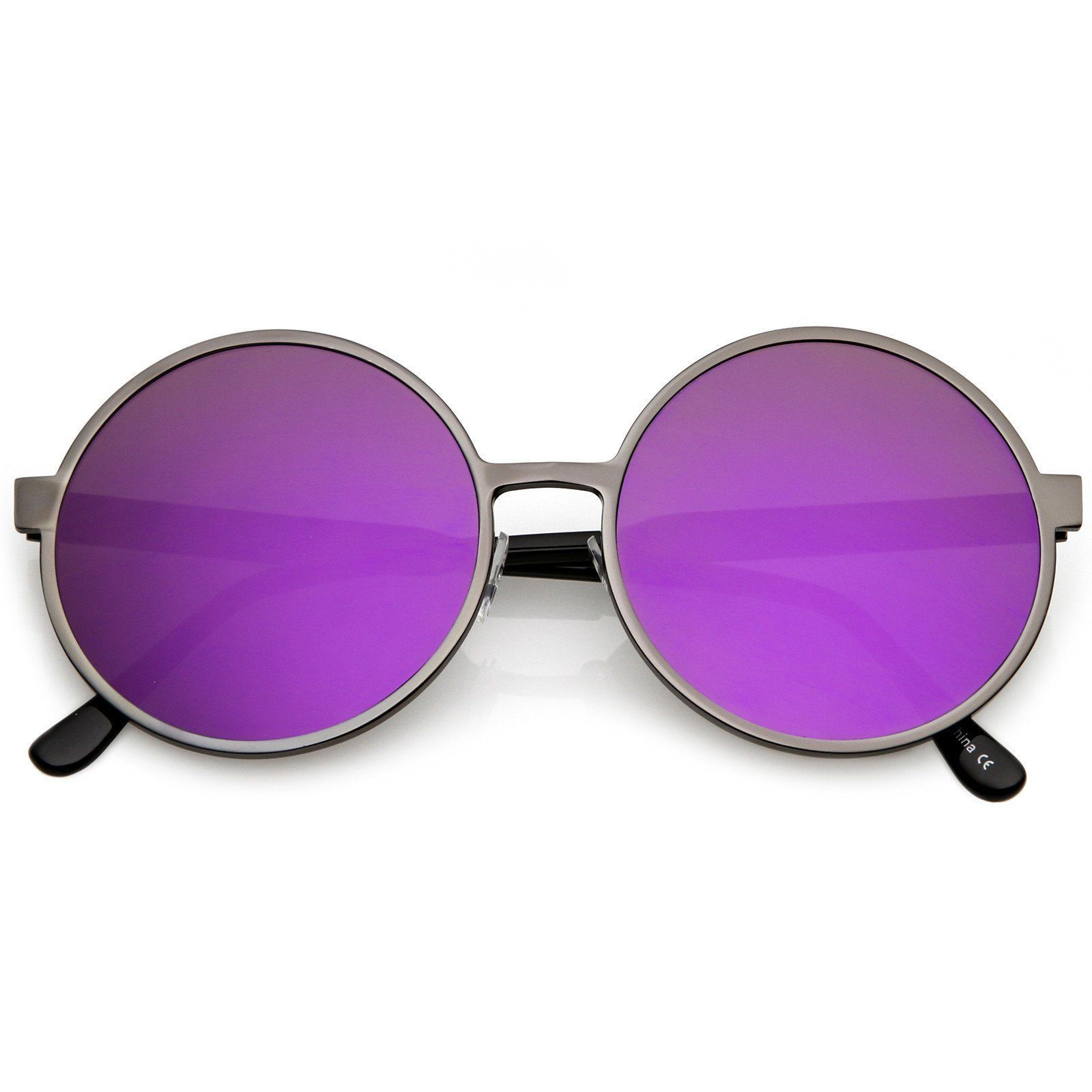 Oversize Round Metal Sunglasses With Color Mirrored Flat Lens 58mm