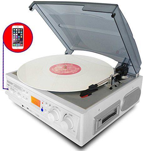 Boytone BT-19DJB-C 3 Speed Record Player Turntable AM//FM Radio Cassette Speakers