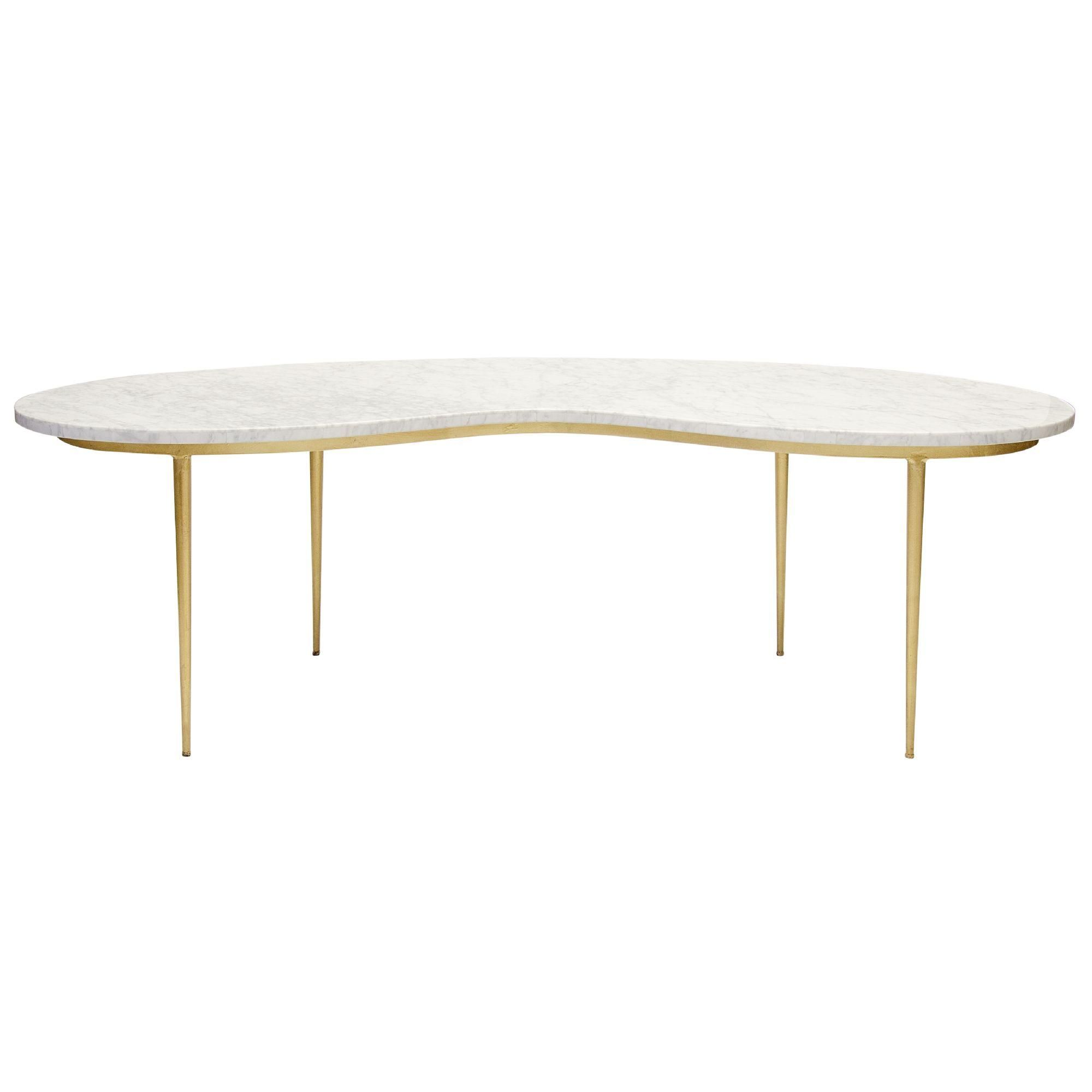 Kidney shaped marble coffee table with gold leaf iron base