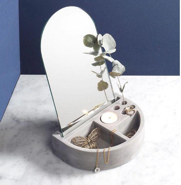 Minimalist Jewelry Display Organizer With Mirror | Etsy