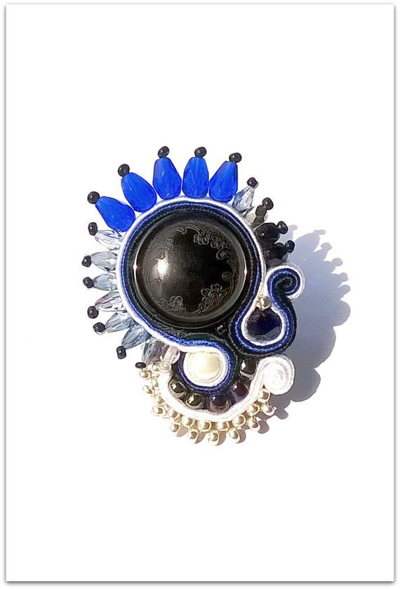 RING Statement soutache black and indigo by ArtGalleryButterfly