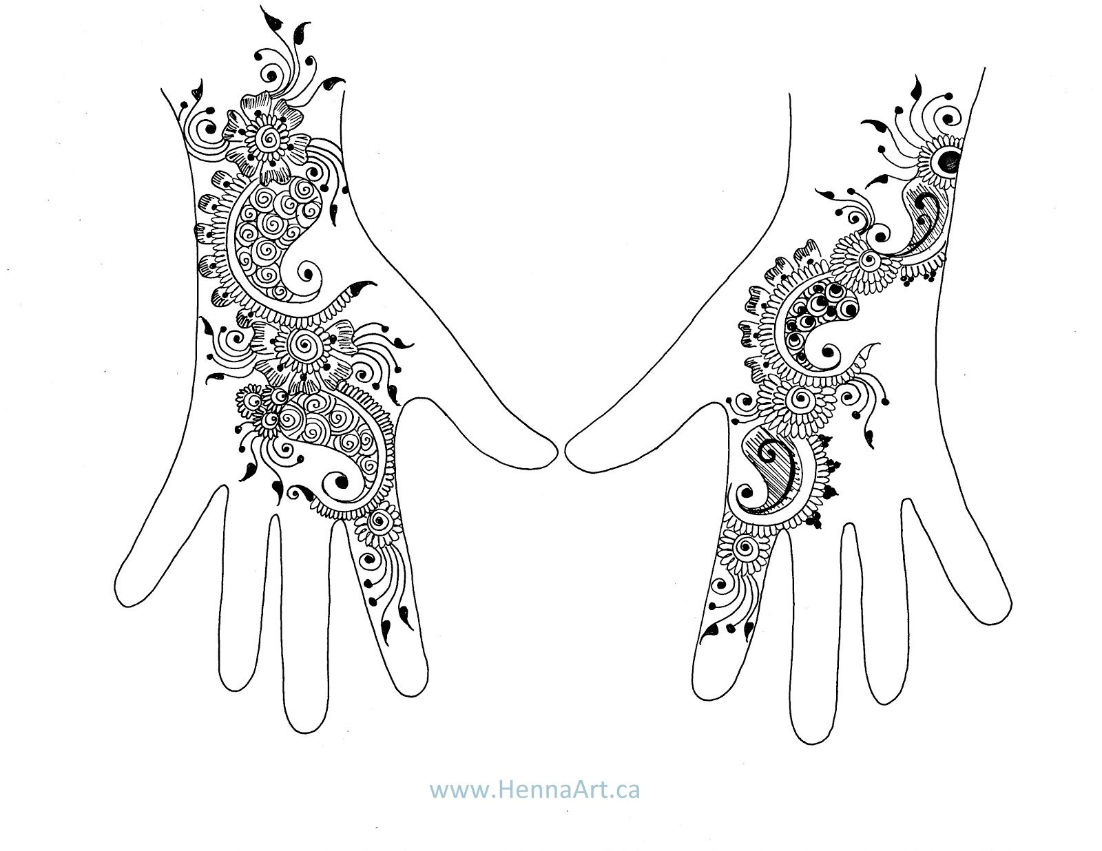 Henna Design Outline: Henna Hand Template - Google Search