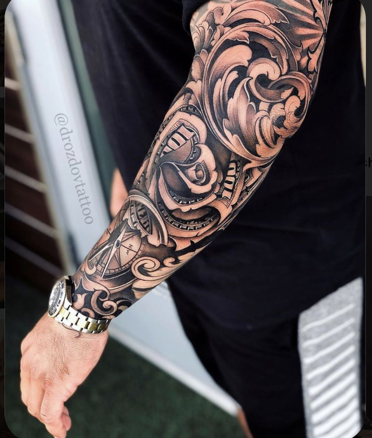 Pin By Pjv On Awesome Tattoos In 2020 Rose Tattoo Sleeve Tattoo Sleeve Designs Sleeve Tattoos