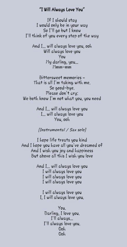 I Ll Always Love U Great Song Lyrics Love Songs Lyrics Lullaby Lyrics