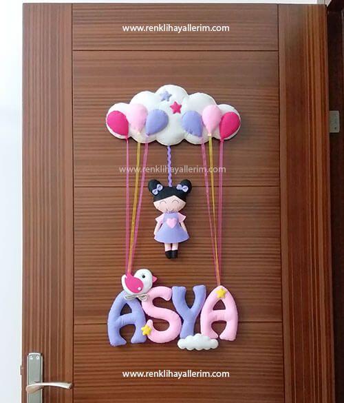 Asya isimli Pembe Mor Kız kapı süsü Asya isimli Pembe Mor Kız kapı süsü