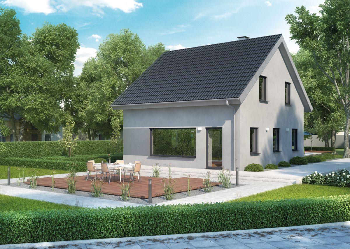 Modernes Einfamilienhaus mit Putzfassade Farbe grau - Fertighaus ...