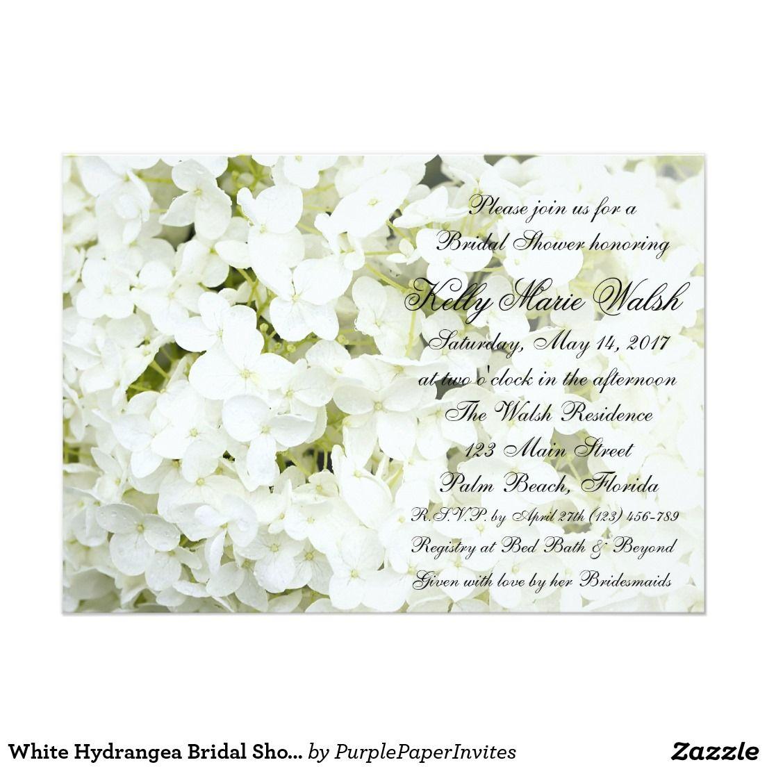 white hydrangea bridal shower invitation bridal shower paper items