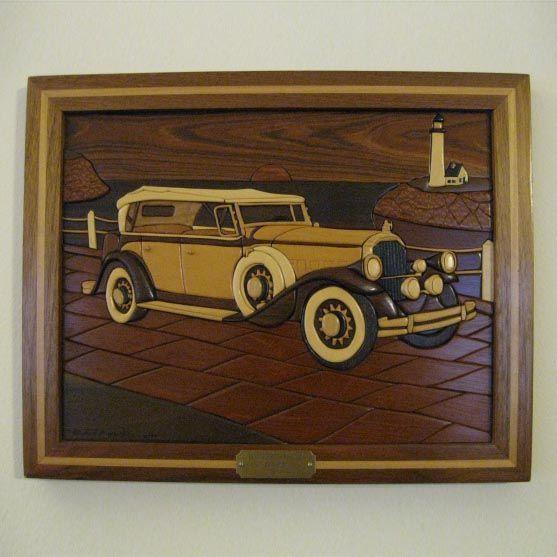 Framed 1931 Pierce Arrow Intarsia Intarsia Wood Intarsia Wood Art