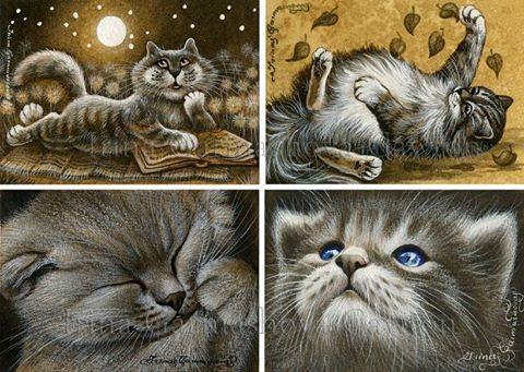 Sepia Cat ACEO miniatures by Irina Garmashova-Cawton
