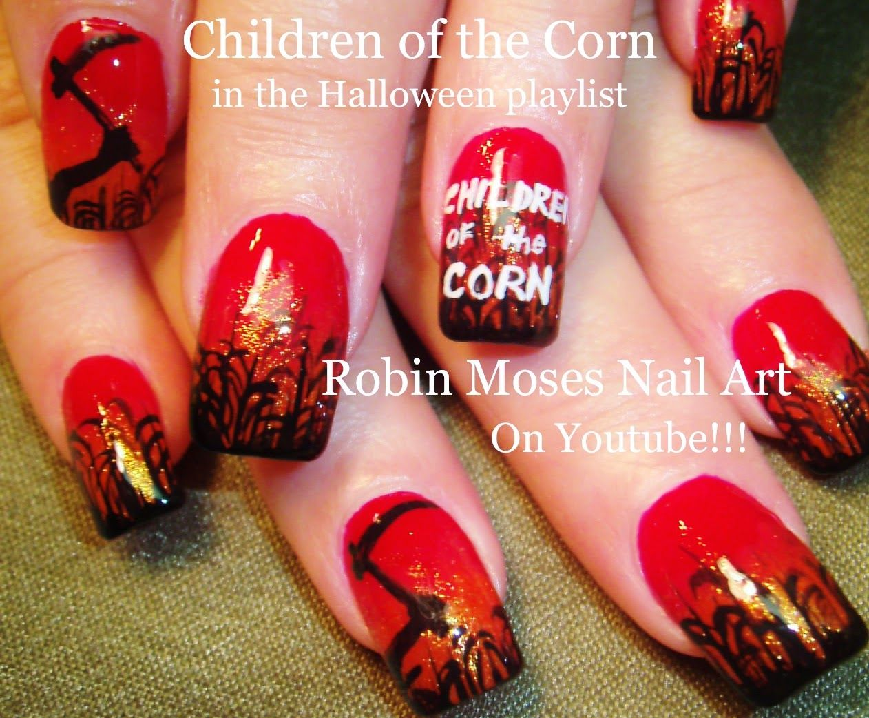 Nail Frightened art ideas for halloween