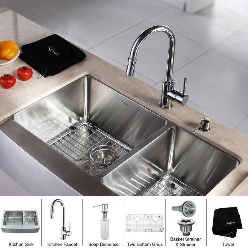 Kraus Khf203 33 Kpf1622 Ksd30 Kitchen Combo 32 7 8 Farmhouse 60 40 Dou Chrome Kitchen Faucet Stainless Steel Kitchen Sink Double Bowl Kitchen Sink