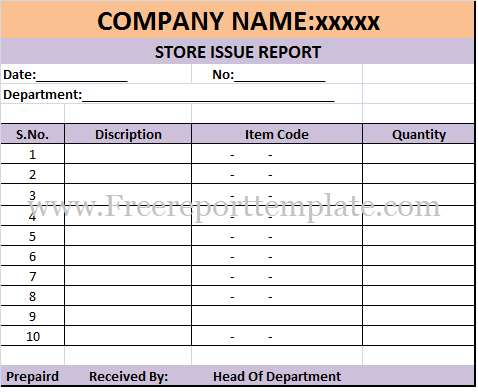 download free excel store issue report template ms office
