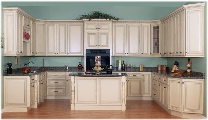 Cream Kitchen Cabinets With Blue Walls For The Home Glazed