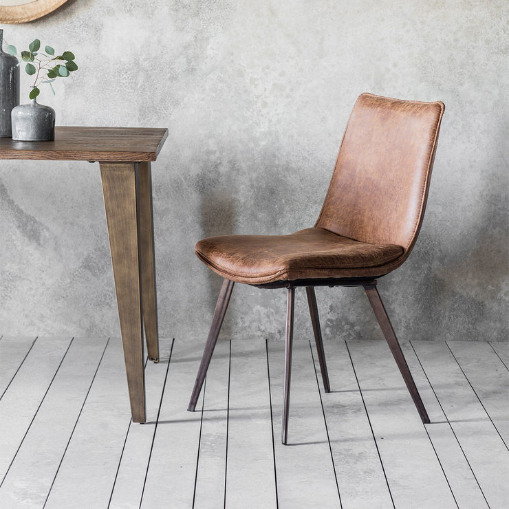 Gallery Hinks Brown Faux Leather Dining Chair 2 Pack Faux Leather Dining Chairs Leather Dining Chairs Leather Dining Room Chairs