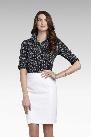 Foxcroft Wrinkle Free Retro Dot Print Fitted 3/4 Sleeve Blouse | Foxcroft Clothing
