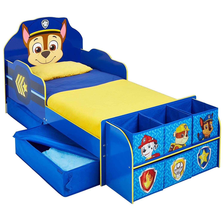 Kinderbett mit Schubladen und Regal Paw Patrol 140x70cm
