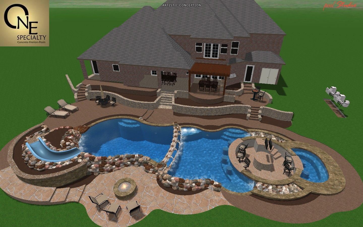 Backyard his swim up bar backyard pool designs pinterest for Pool design with swim up bar
