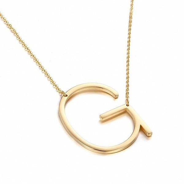 New Minimalist Gold Rose Gold Silver Color 26 A Z Letter Name Initial Necklaces For Women Long ...