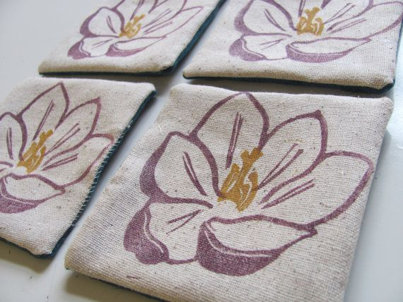 Purple Crocus fabric coasters: SET OF 4