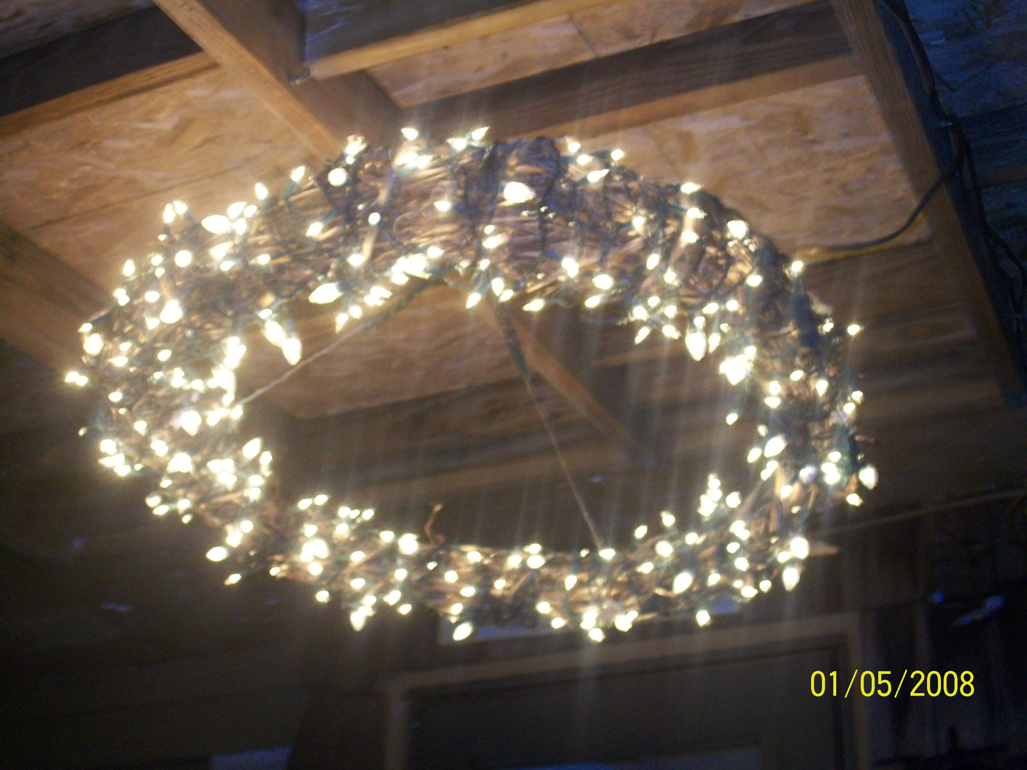 """Grapevine Wreath """"Chandelier"""" for the back porch"""