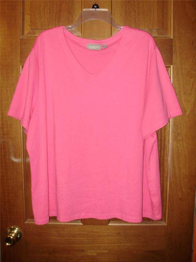 Womens plus size shirt-3X-Croft & Barrow stretch-Pink v-neck-Free Shipping 2 USA #CroftBarrow #KnitTop #Casual