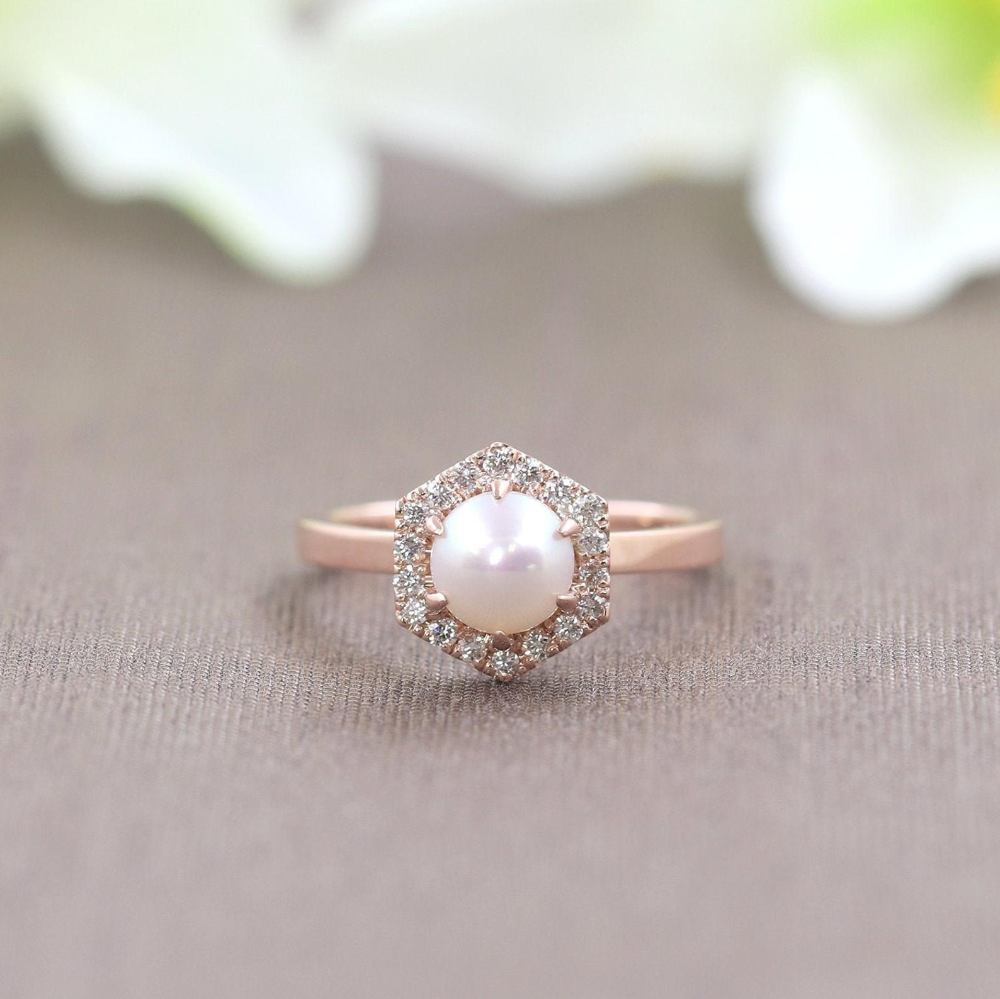 Photo of Natural Pearl Engagement Ring.Hexagon Art Deco Diamond | Etsy