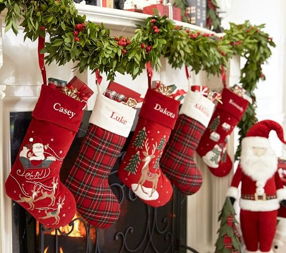 Red Tartan Plaid Stocking Christmas Decorations