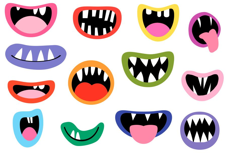 Spooky Monster Mouths Clipart Halloween Teeth Lips Tongues 134729 Illustrations Design Bundles Monster Mouth Mouth Clipart Halloween Teeth
