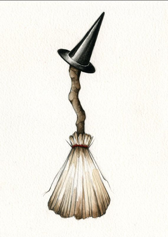 halloween broom and witch hat