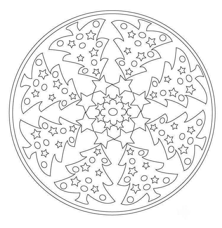 Einfaches Mandala Weihnachten Ausdrucken Tannenbaume Sterne Weihnachtsmalvorlagen Ausmalbilder Weihnachten Weihnachtsmandala