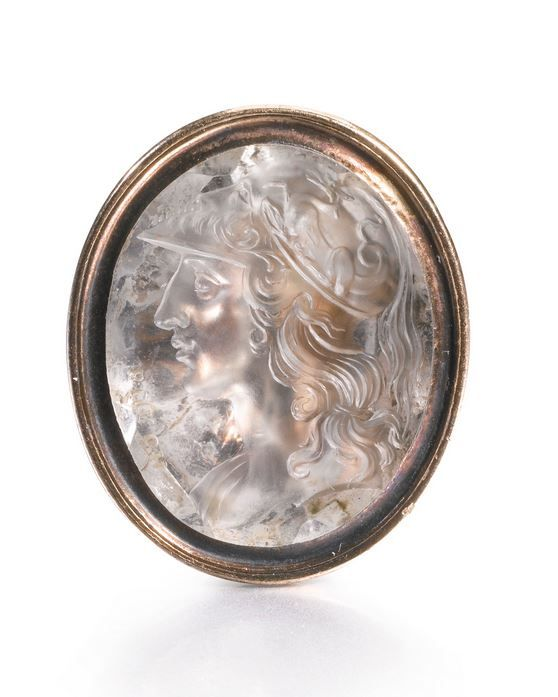 Edward Burch R.A. (1730-1814) British, circa 1780. INTAGLIO WITH A PROFILE OF ALEXANDER THE GREAT, signed: BURCH. - rock crystal, set in a gold fob seal.