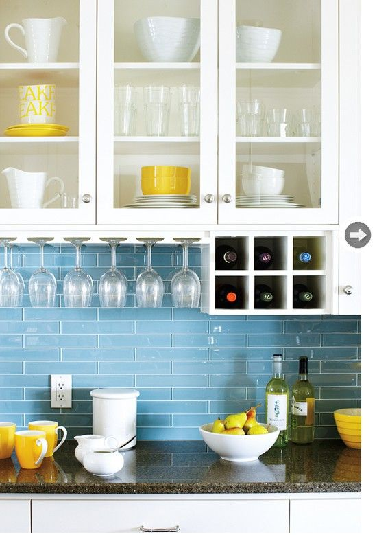 Really Loving That Blue Backsplash And The Pops Of Yellow