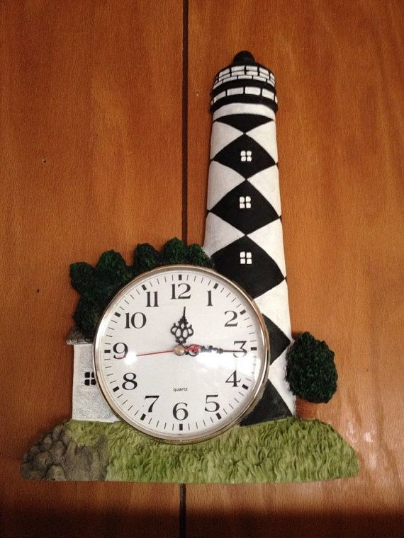 lighthouse clock wall clock battery operated vtg by on wall clocks battery operated id=89754
