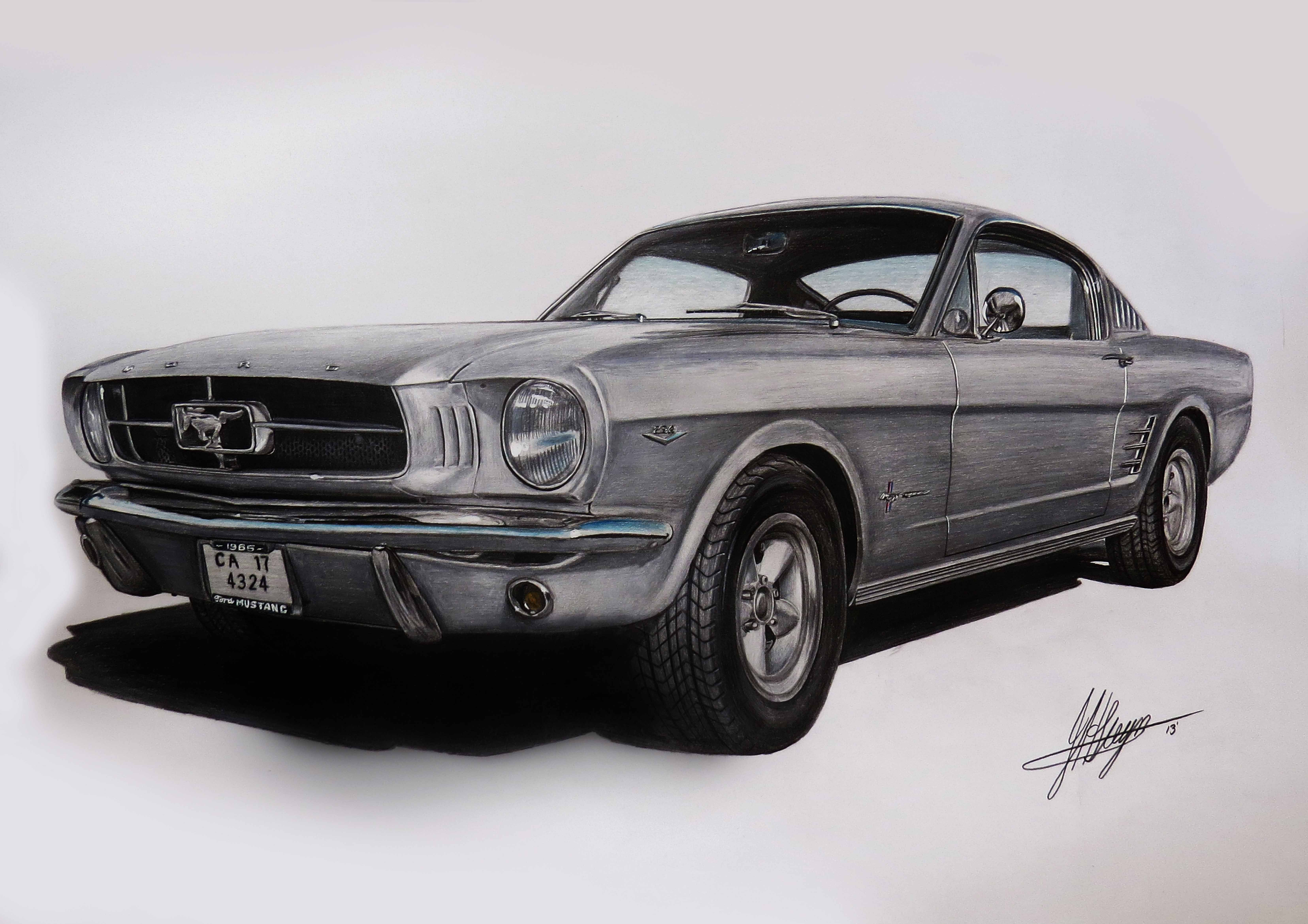 Ford Mustang Car Drawing Muscle Car Car Drawings In Pencil