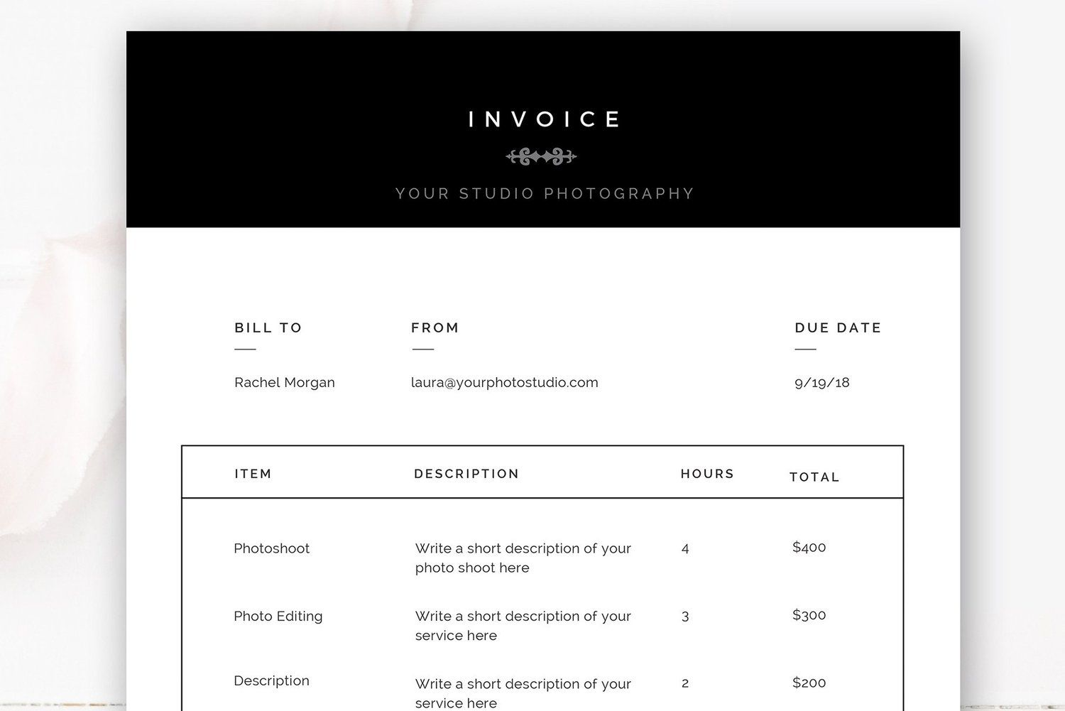 Photography Invoice Template Photoshop Templates For Photographers By Stephanie Design Photography Invoice Template Photography Invoice Photoshop Tutorial