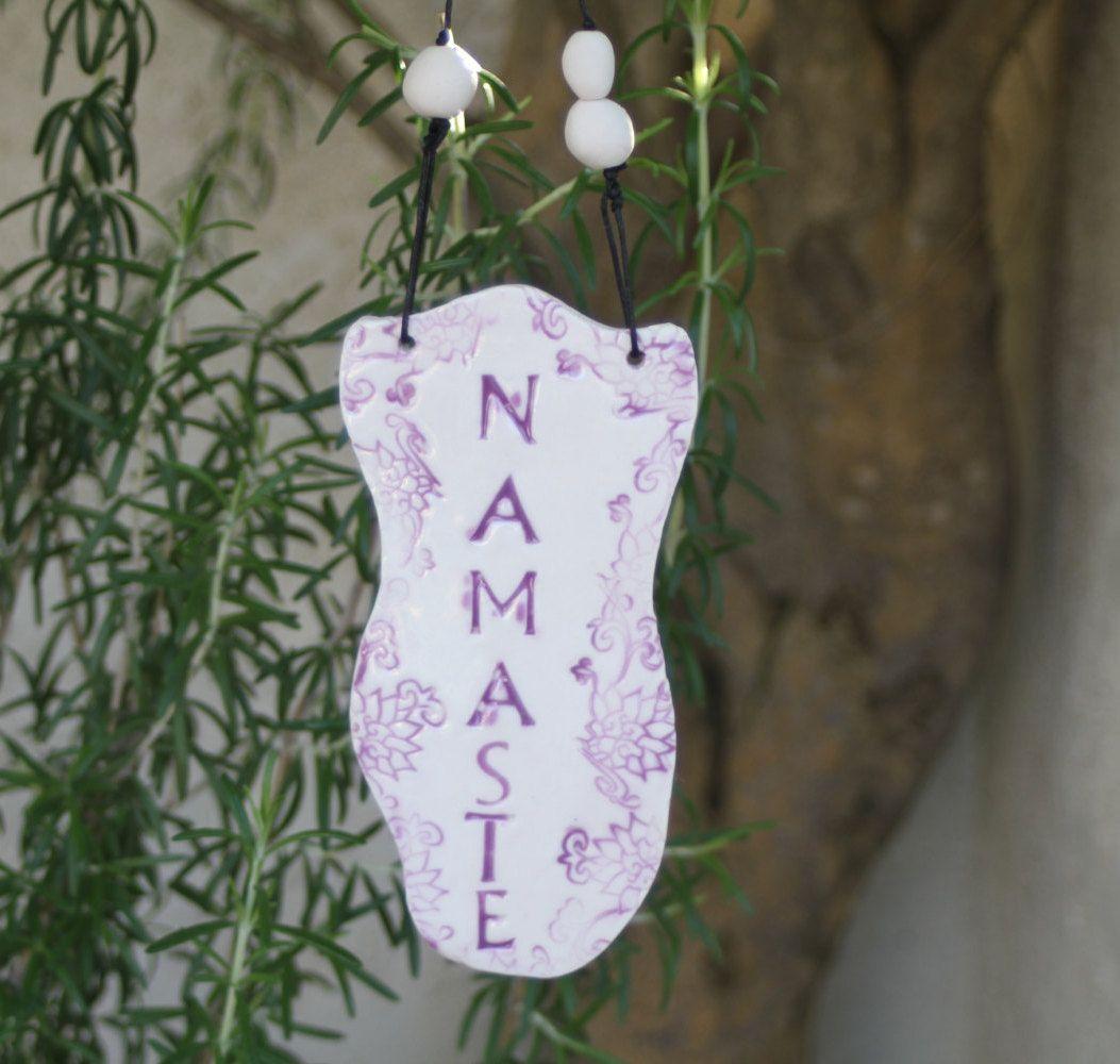 Namaste Sign Handmade Ceramic Yoga Sign Hanging Sign Greeting Sign