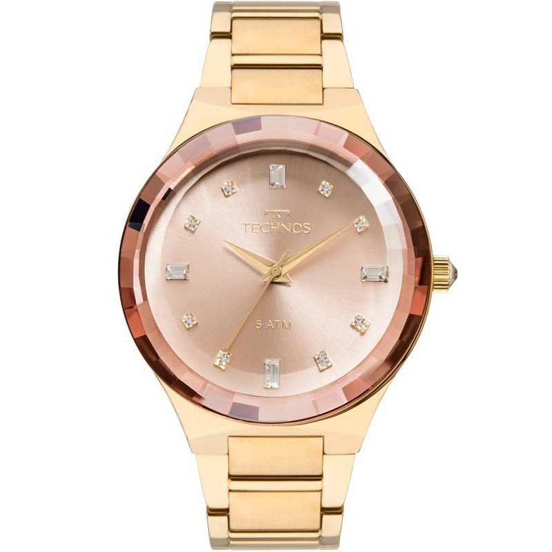 RELÓGIO TECHNOS FEMININO CRYSTAL ROSÉ GOLD E DOURADO 2036MJK 4T - Relógio  Technos Crystal feminino 911095bb3f