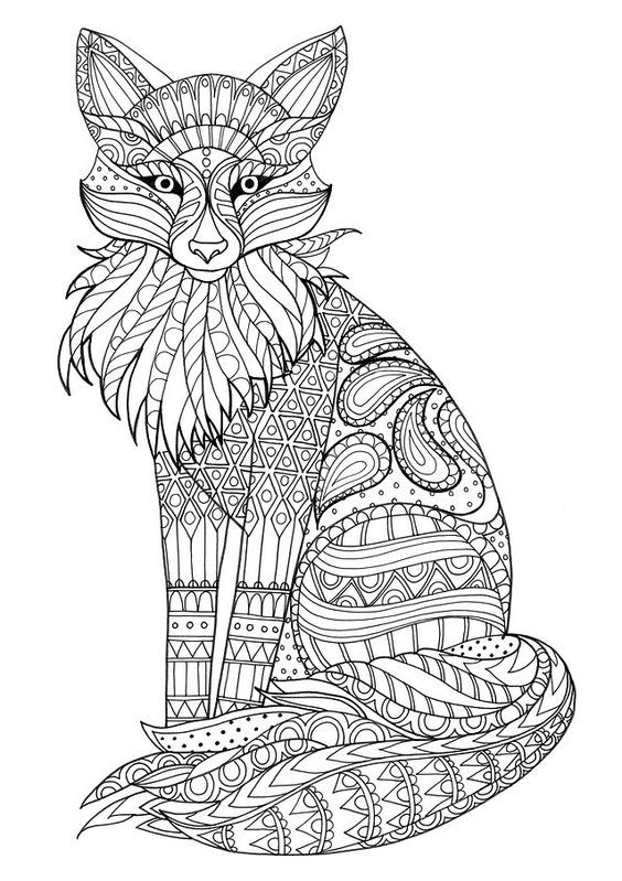 Zentangle Coloring Page Fox Coloring Page Animal Coloring Pages