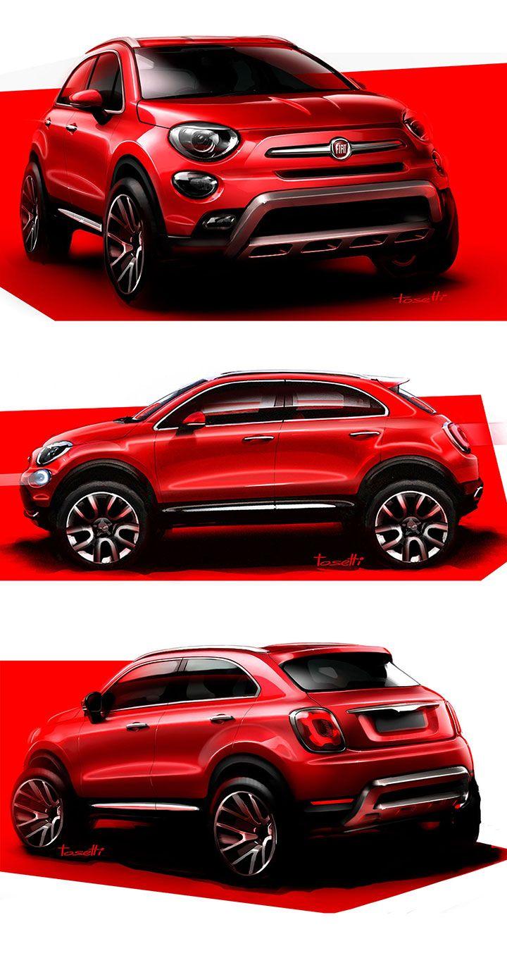 Fiat 500x design sketches by fiat designer danilo tosetti car sketches coches chulos coches - Croquis voiture ...