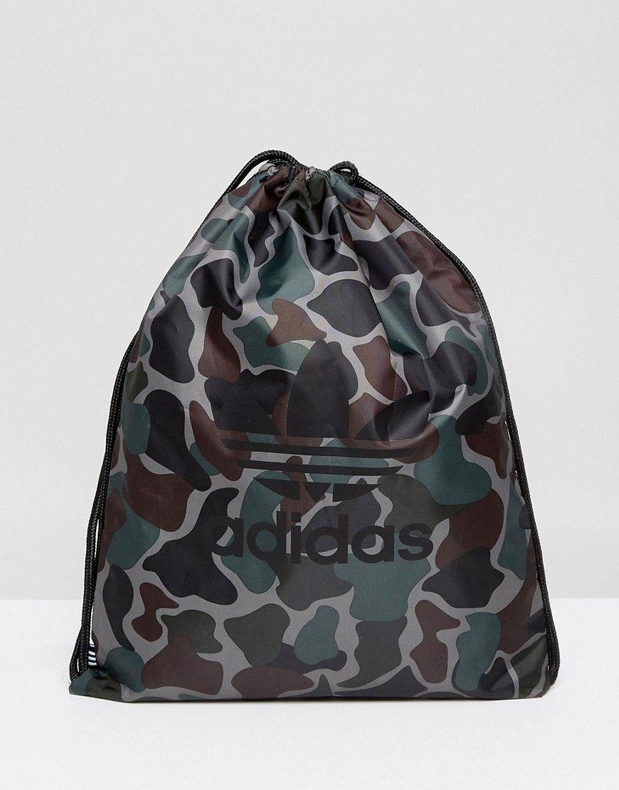 ADIDAS ORIGINALS DRAWSTRING BAG IN CAMO BQ6102 - GREEN.  adidasoriginals   bags  polyester  backpacks   1903e5545ba39