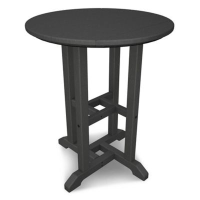 Polywood Traditional 24 Round Dining Table In Slate Grey
